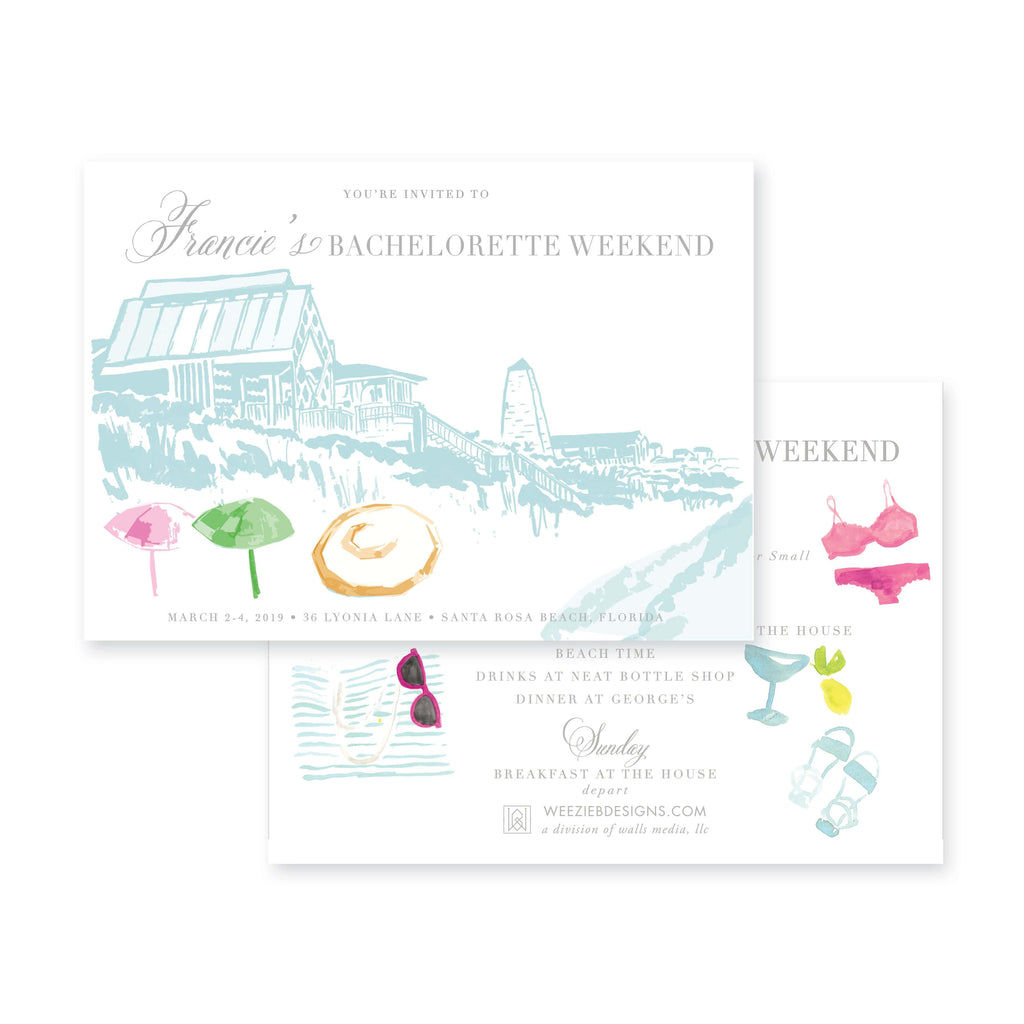 Weezie B. Designs | Bachelorette Invitation | Meet Me At The Seaside