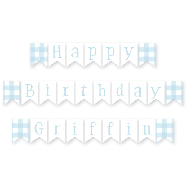 Gingham Personalized Happy Birthday Banner