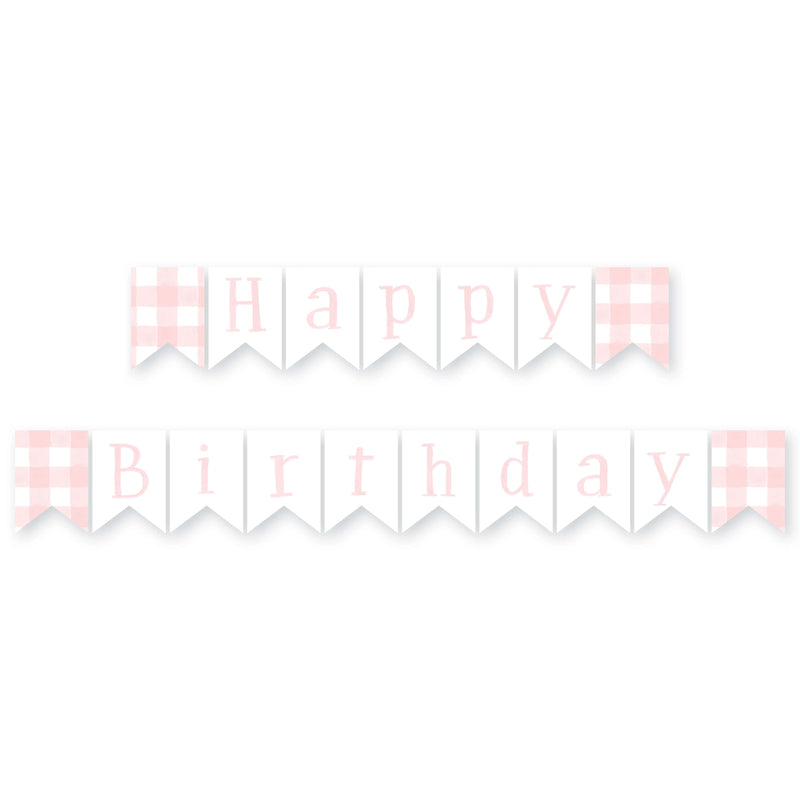 Gingham Happy Birthday Banner