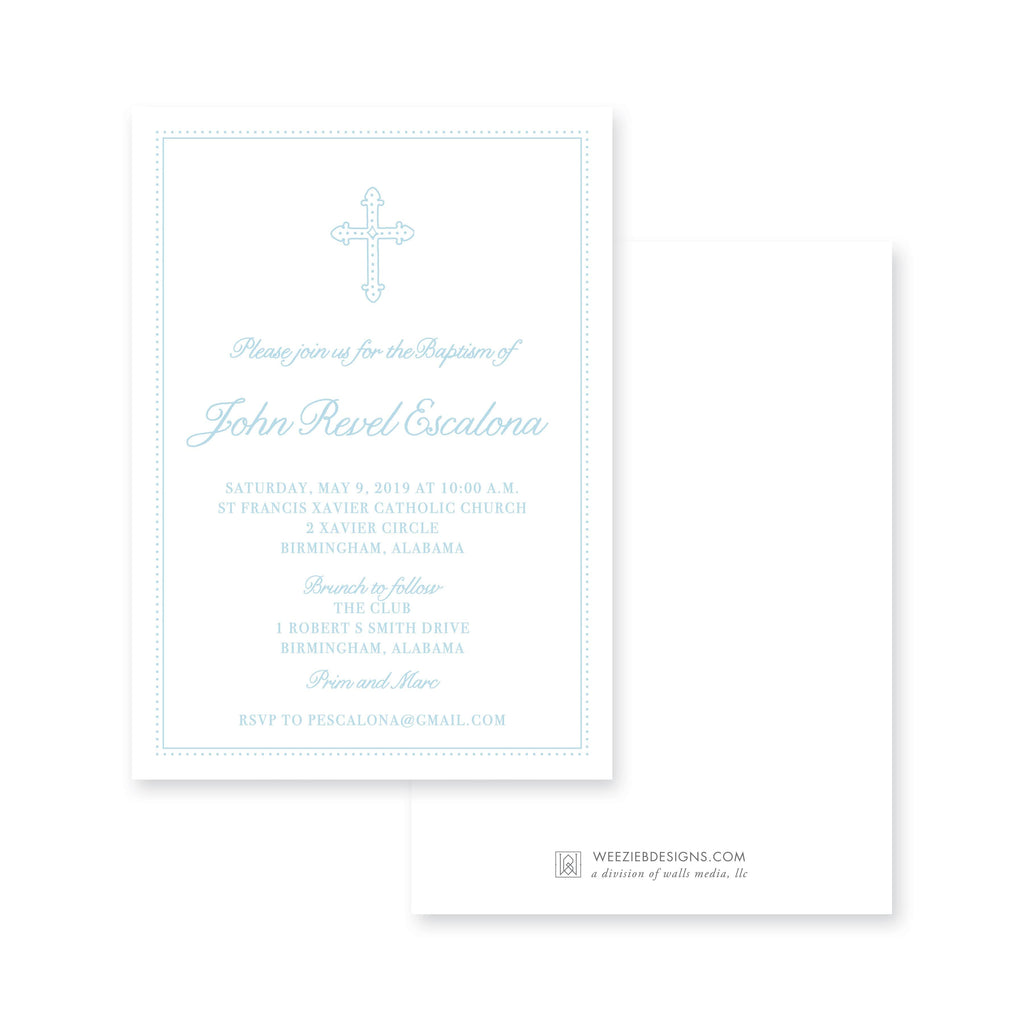Weezie B. Designs | Sweet Dotted Cross Baptism Invitation