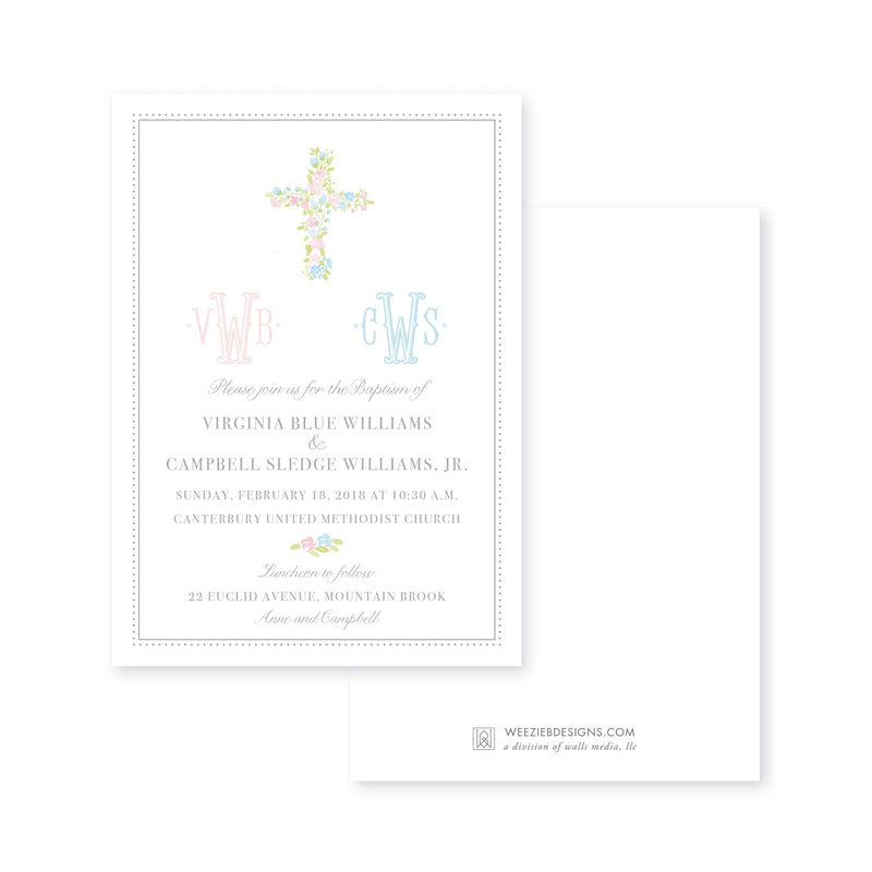 Weezie B. Designs | Pink & Blue Watercolor Cross Baptism Invitation