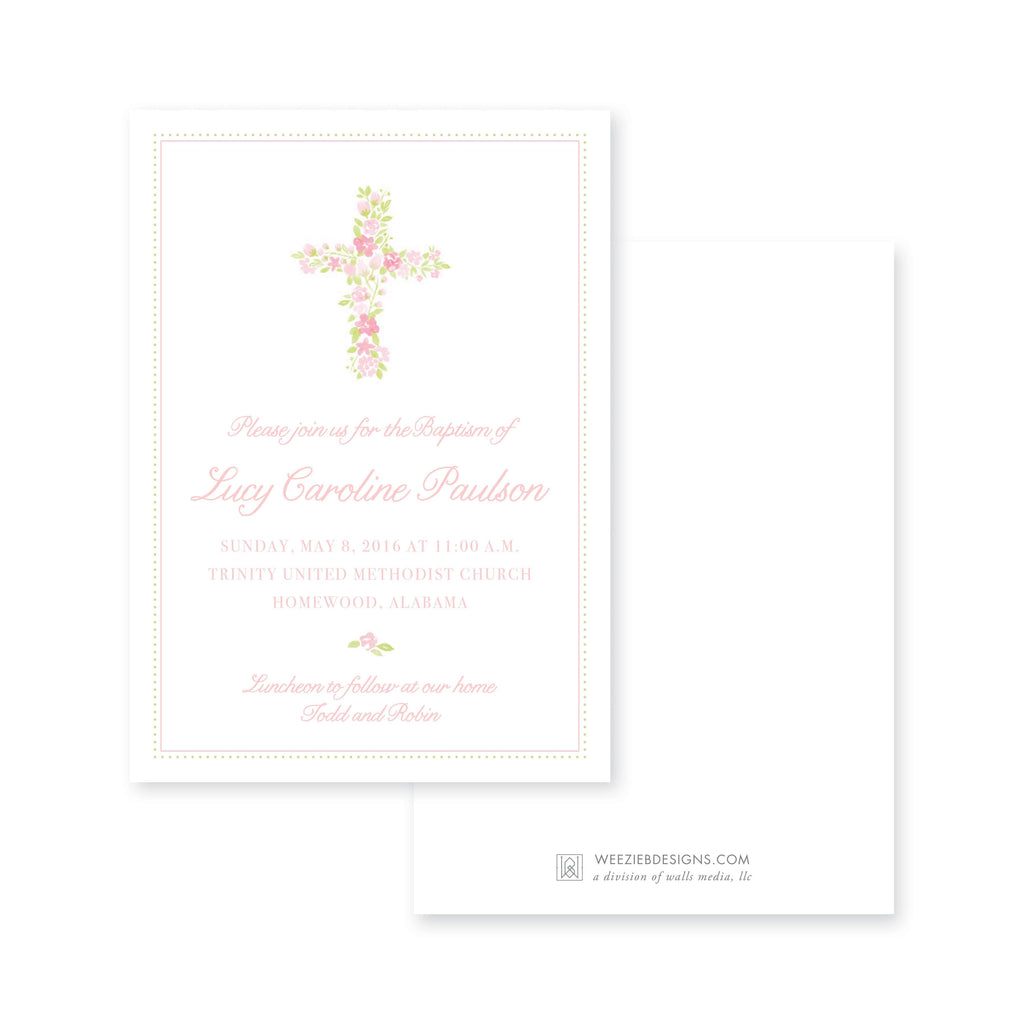 Weezie B. Designs | Watercolor Floral Cross Baptism Invitation