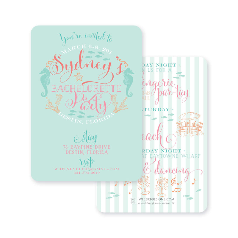 Weezie B. Designs | Bachelorette Invitation | Beachy Bachelorette
