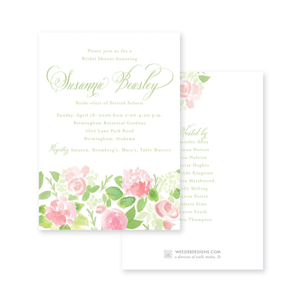Weezie B. Designs | Watercolor Flower Garden Bridal Shower Invitation