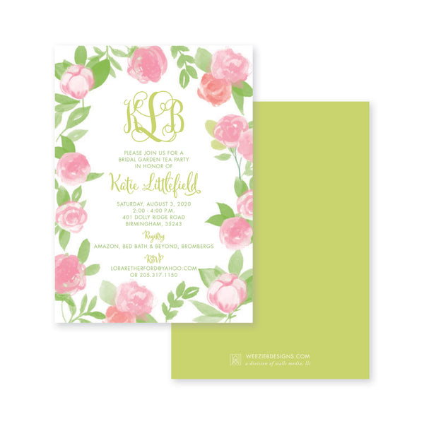 Weezie B. Designs | Garden of Peonies Bridal Shower Invitation