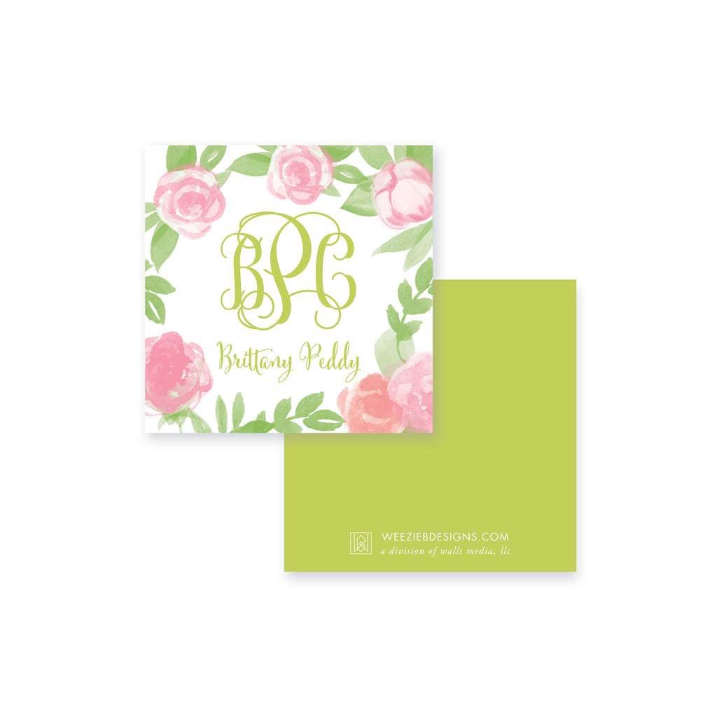 Weezie B. Designs | Garden of Peonies Calling Card