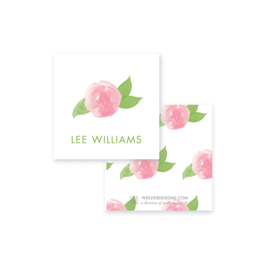 Weezie B. Designs | Watercolor Peony Calling Card