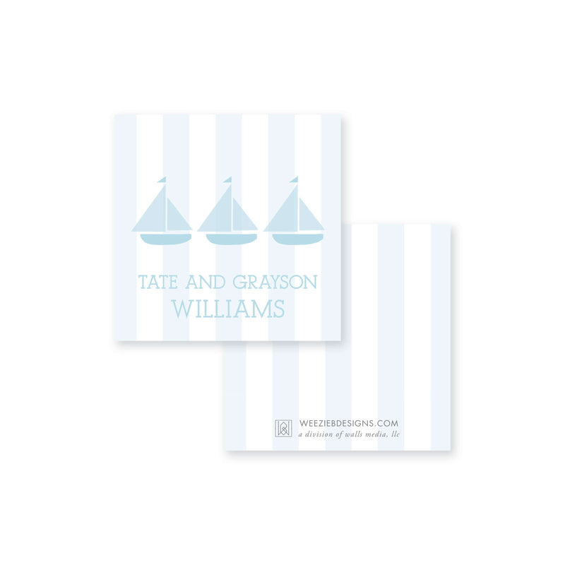 Weezie B. Designs | Trio of Sailboats Calling Cards