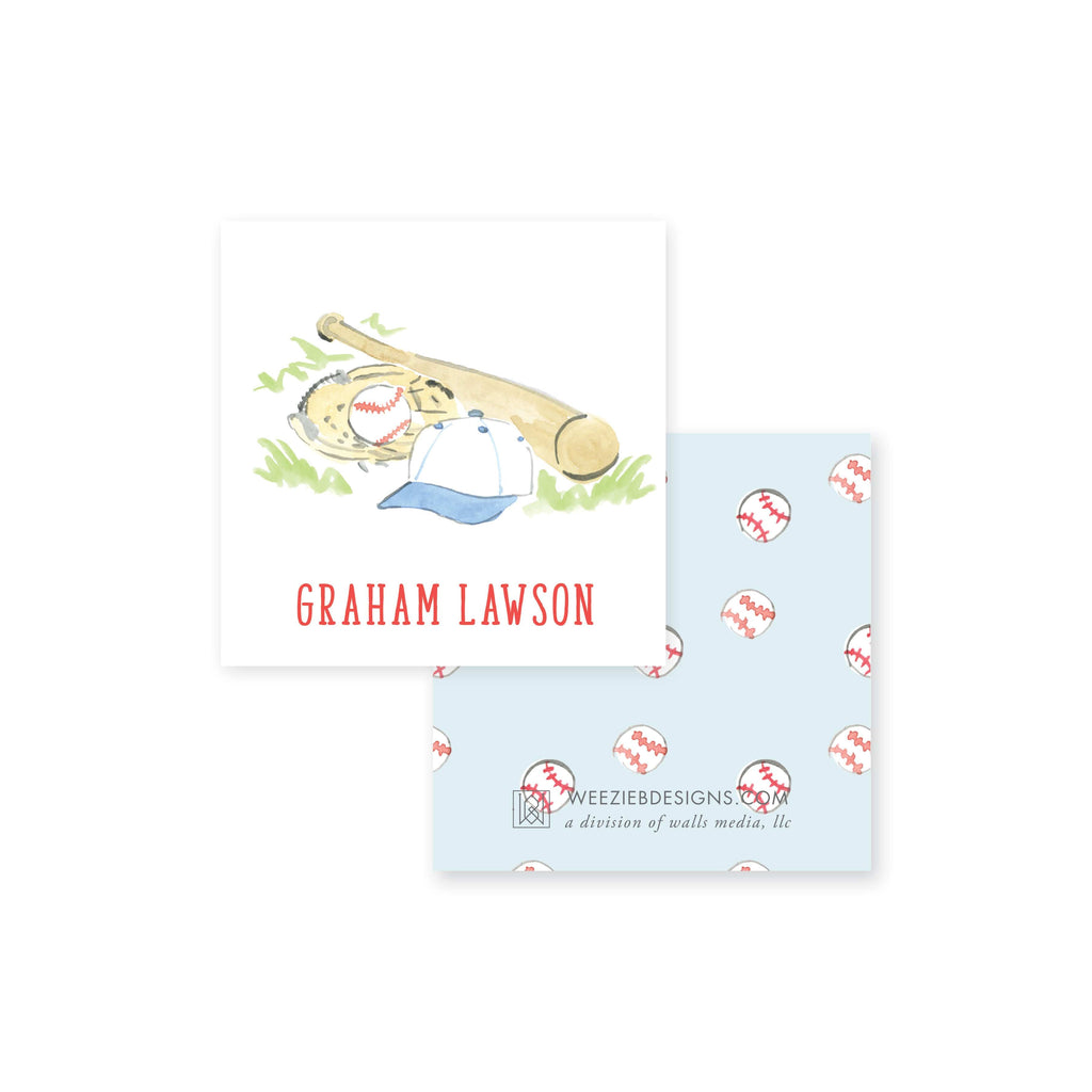 Weezie B. Designs | Watercolor Baseball Calling Card