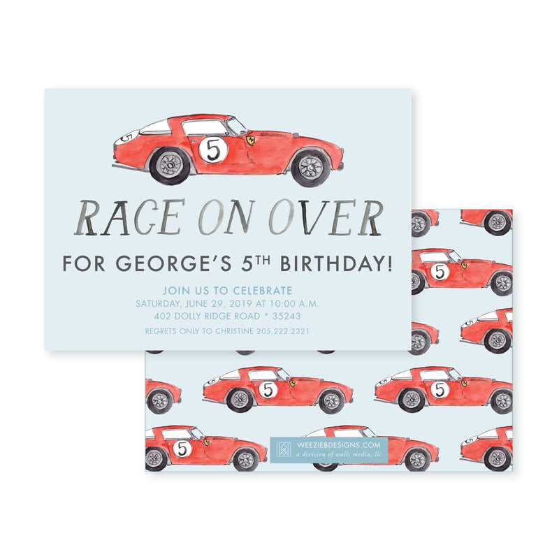 Weezie B. Designs | Race On Over Watercolor Birthday Party Invitation