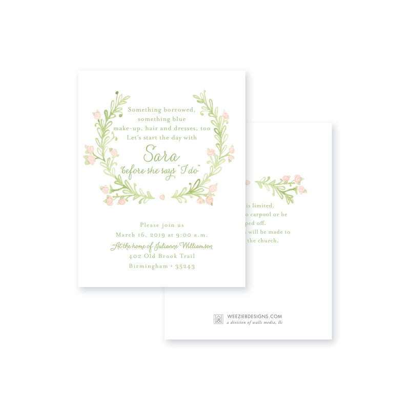 Weezie B. Designs | Sweet Watercolor Wreath Bridal Shower Invitation