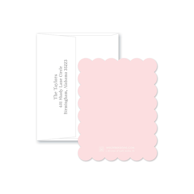 Weezie B. Designs | Sweet Dotted Cross Personalized Flat Note Card
