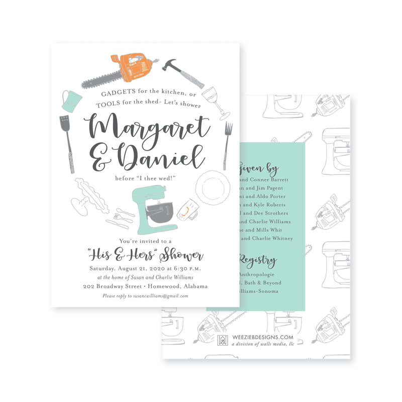Weezie B. Designs | His & Hers with Icons Engagement Party Invitation
