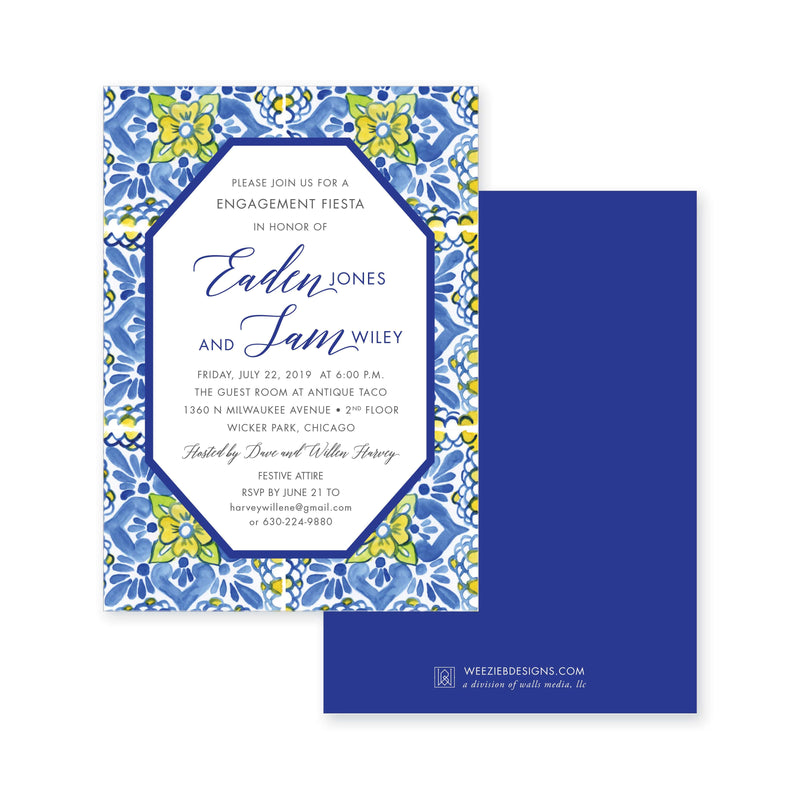 Weezie B. Designs | Fiesta Escamilla Azul Engagement Party Invitation