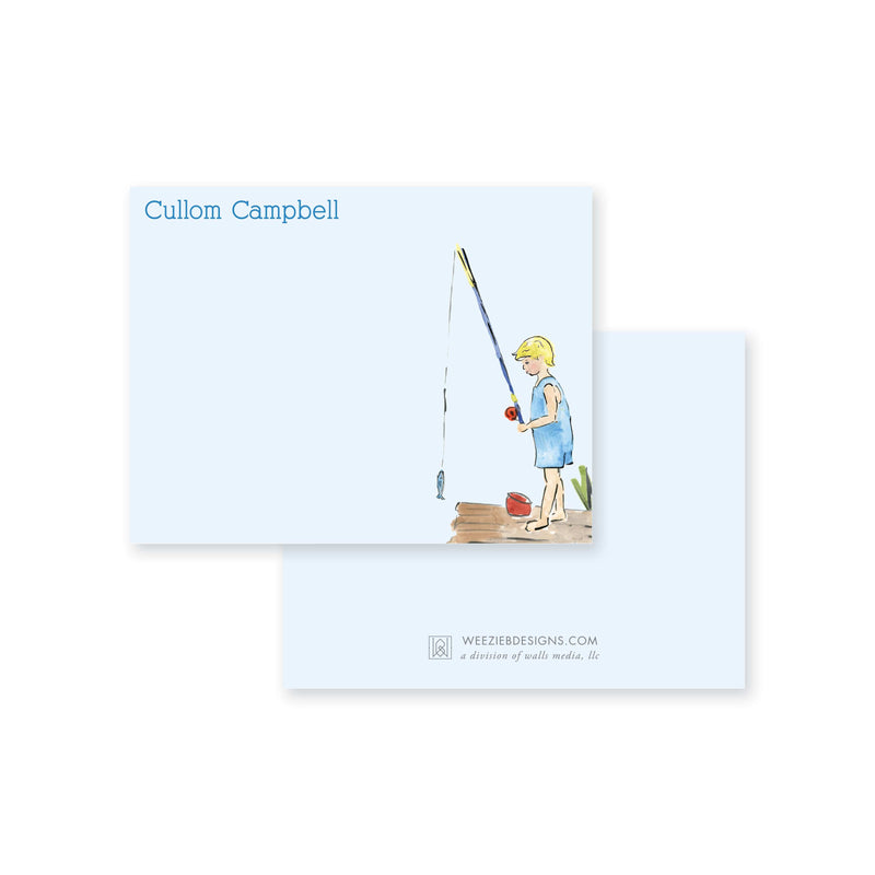 Weezie B. Designs | Watercolor Boy Fishing Flat Notecard