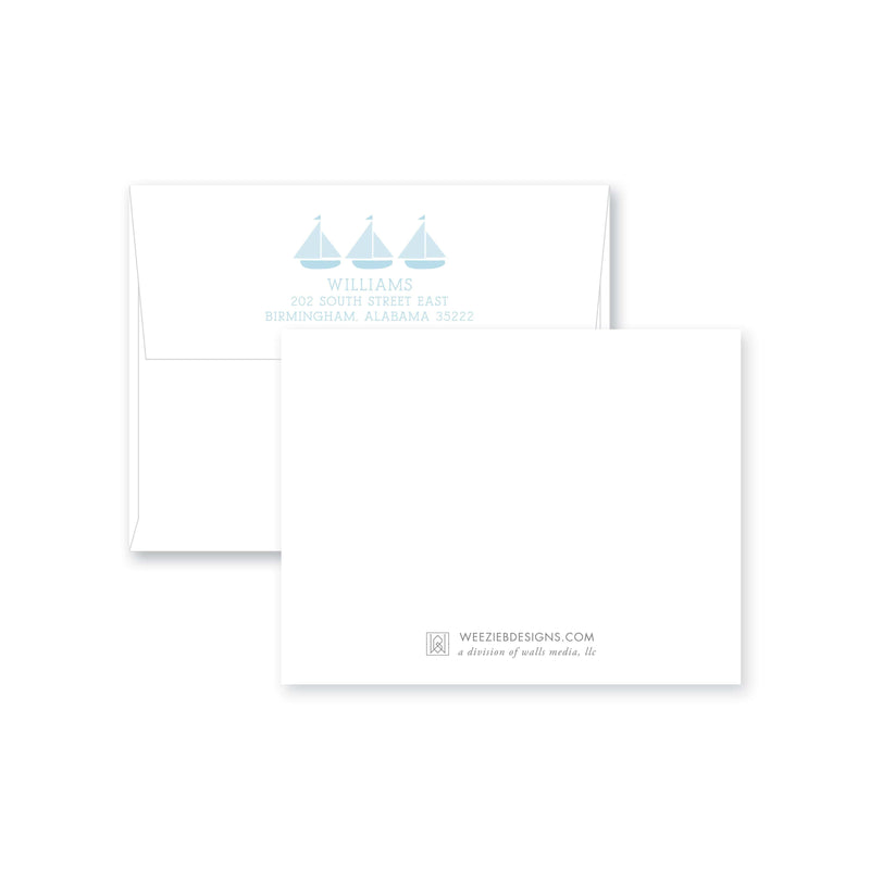 Weezie B. Designs | Trio of Sailboats Flat Note Cards