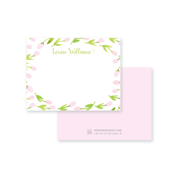 Weezie B. Designs | Garden of Tulips Personalized Flat Note card