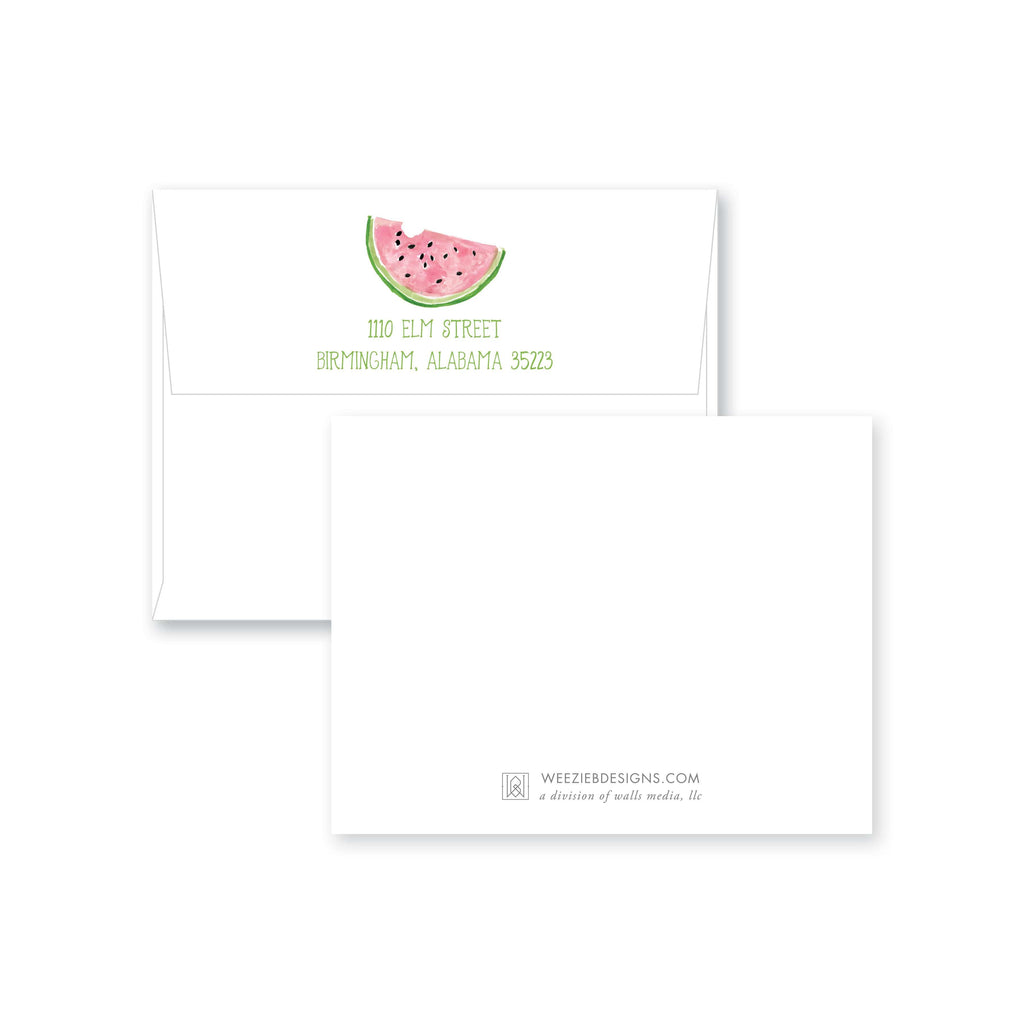 Weezie B. Designs | Watercolor Watermelon Personalized Flat Note Card