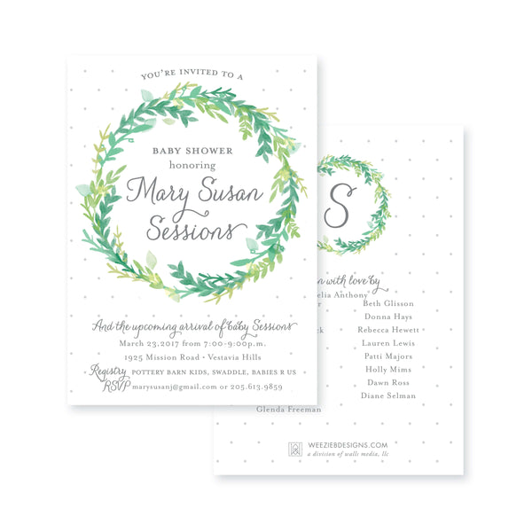Weezie B. Designs | Watercolor Floral Wreath Baby Shower Invitation
