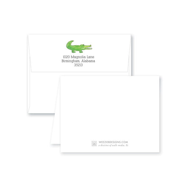 Weezie B. Designs | Watercolor Alligator Personalized Folded Note Card