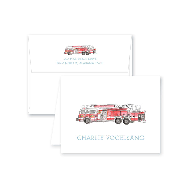 Weezie B. Designs | Watercolor Firetruck Folded Note Card