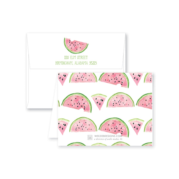 Weezie B. Designs | Folded Watercolor Watermelon Note Card