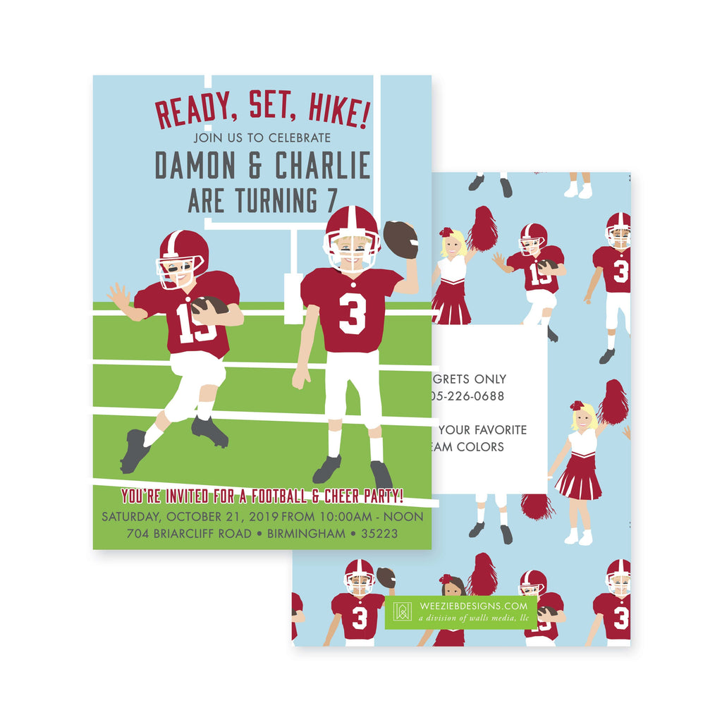 Weezie B. Designs | Football & Cheer Birthday Party Invitations