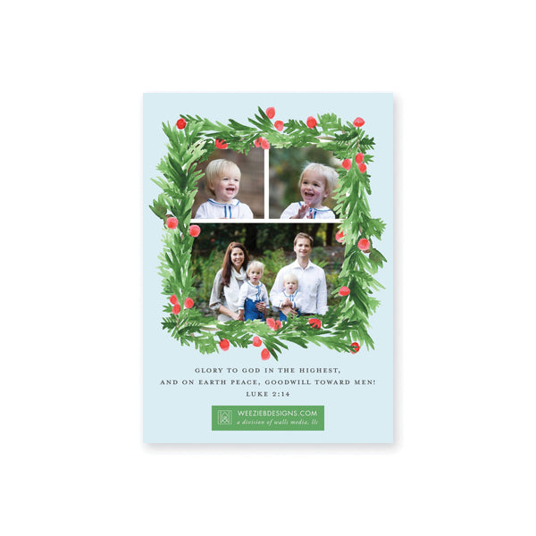Weezie B. Designs | Evergreen Wreath with Berries on Blue Gingham Christmas Card