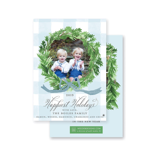 Evergreen Wreath on Blue Gingham