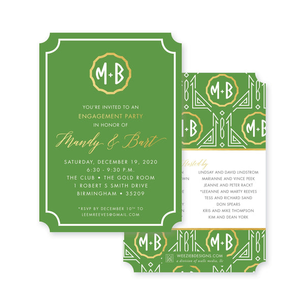 Weezie B. Designs | Gatsby in Green & Gold Engagement Party Invitation