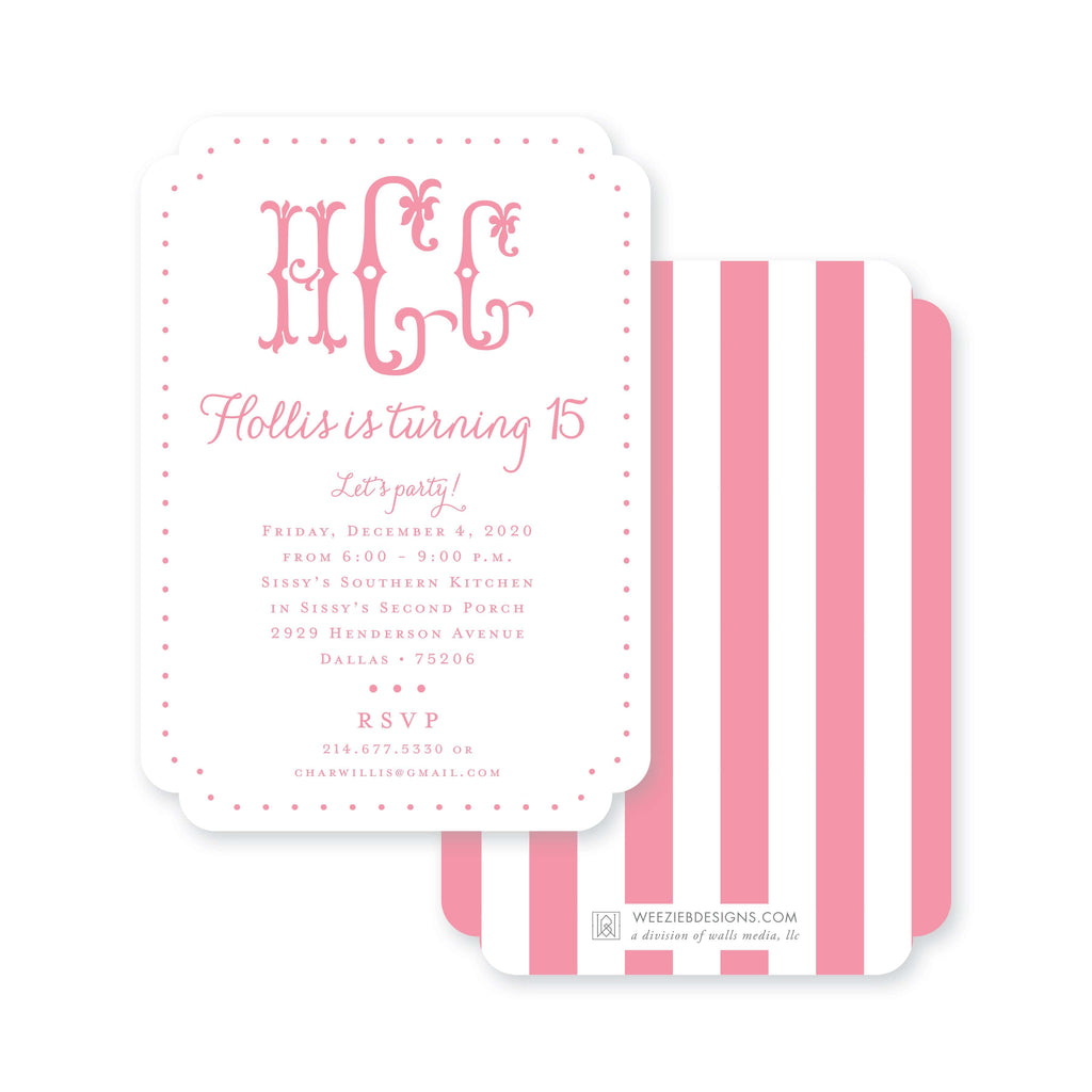 Weezie B. Designs | Let's Party Monogram Birthday Party Invitation
