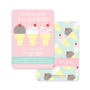 Weezie B. Designs | I Scream, You Scream Birthday Party Invitation