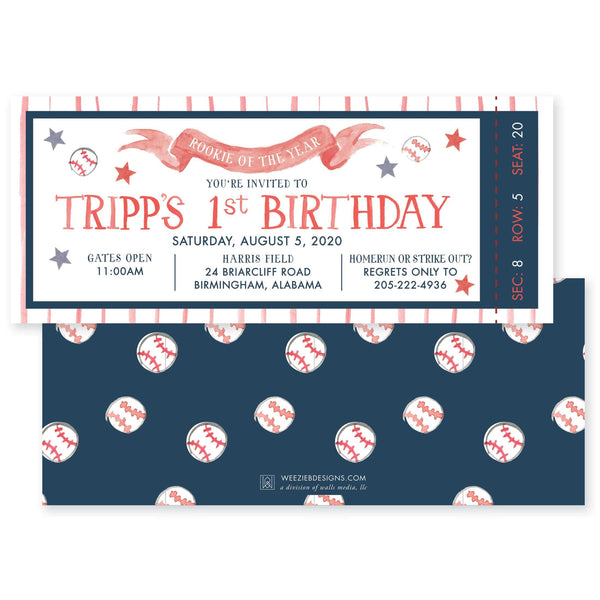 Weezie B. Designs | Baseball - Rookie of the Year Birthday Invitation