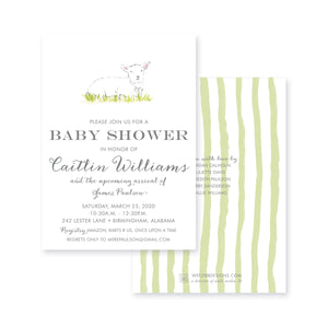 Weezie B. Designs | Watercolor Lamb Baby Shower Invitation