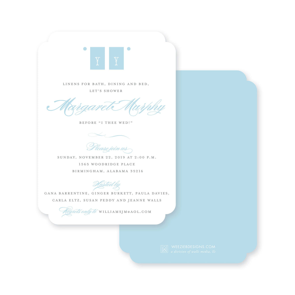 Weezie B. Designs | Ladylike Linen Shower Bridal Shower Invitation