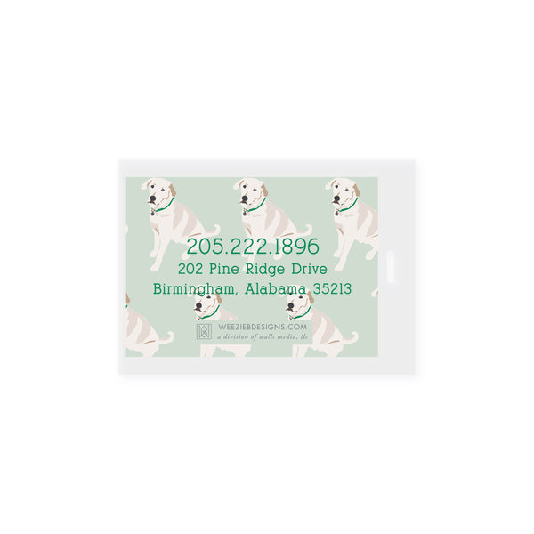 Weezie B. Designs | White Lab Bag Tag