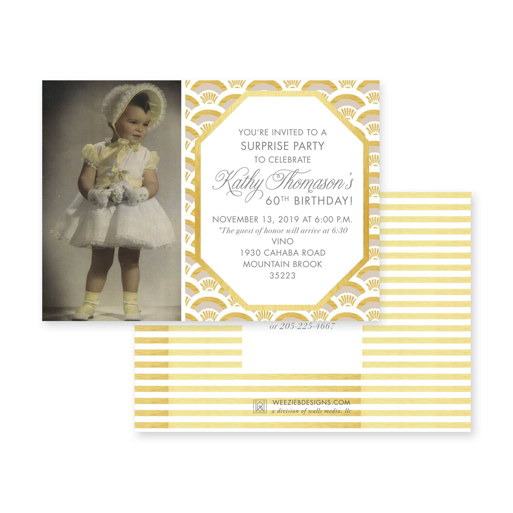 Weezie B. Designs | Milestone Birthday Invitation | Elegant Fishscale Pattern with Photo