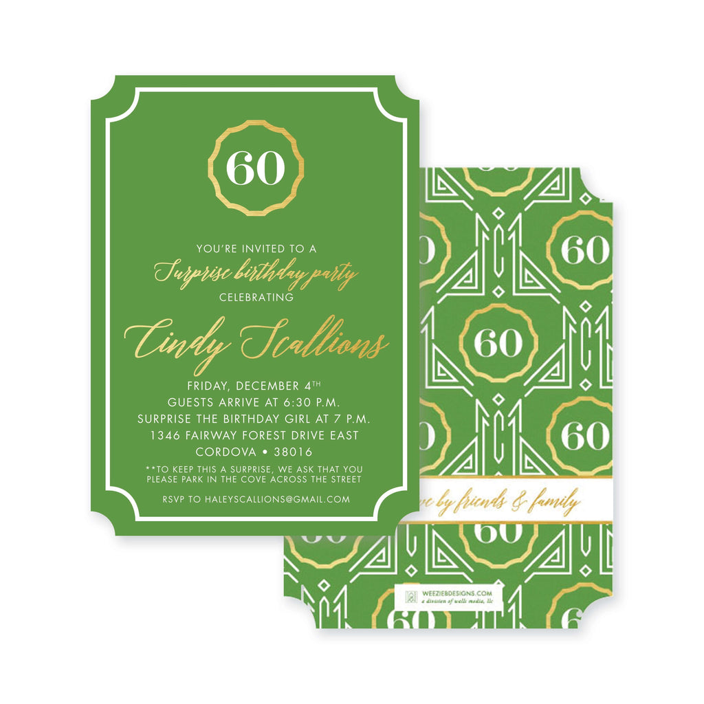 Weezie B. Designs | Milestone Birthday Invitation | Great Gatsby In Green And Gold