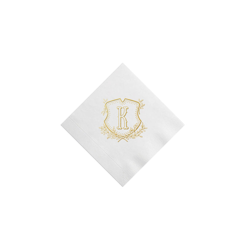 Weezie B. Designs | Floral Crest & Monogram Cocktail Napkins