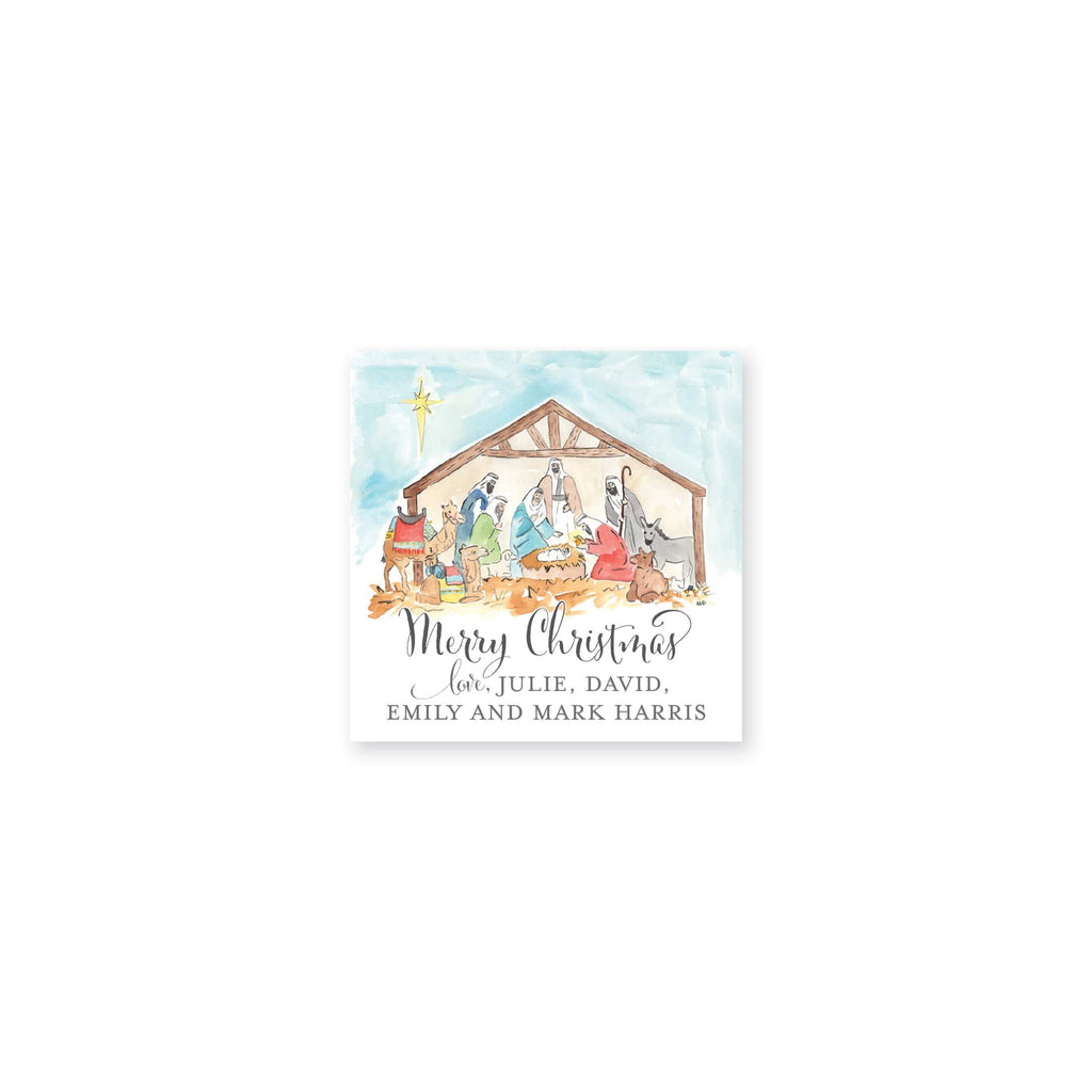 Weezie B. Designs | Watercolor Nativity Personalized Gift Stickers