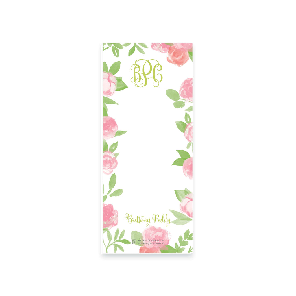 Weezie B. Designs | Garden of Peonies Personalized Notepad