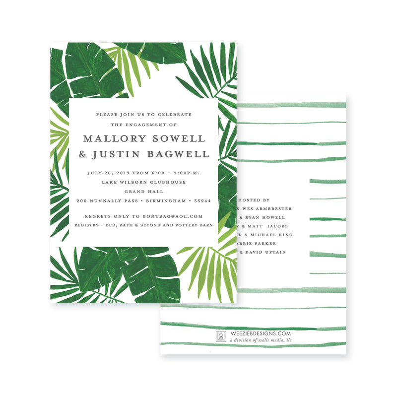 Weezie B. Designs | Pretty Palms Engagement or Wedding Party Invitation