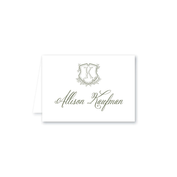 Floral Crest & Monogram Table Tent