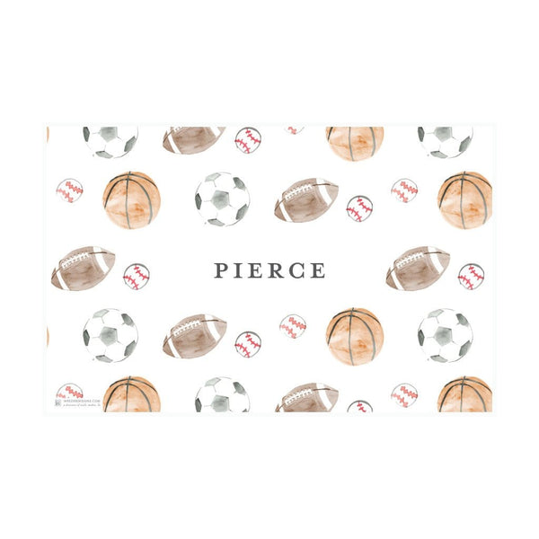Weezie B. Designs | Watercolor Sports Balls Placemat