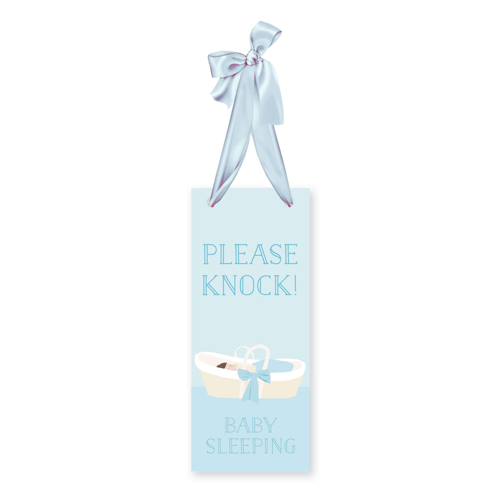 Weezie B. Designs | Please Knock Baby Sleeping Sign in Baby Blue