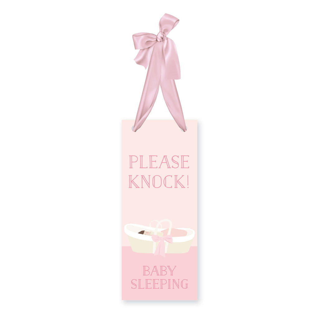Weezie B. Designs | Please Knock Baby Sleeping Sign in Baby Pink