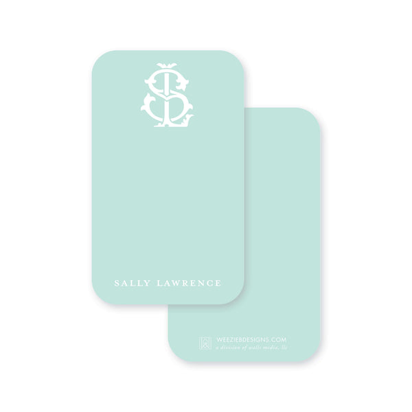 Weezie B. Designs | 2 Letter Intertwine On Seafoam Pocket Note Cards