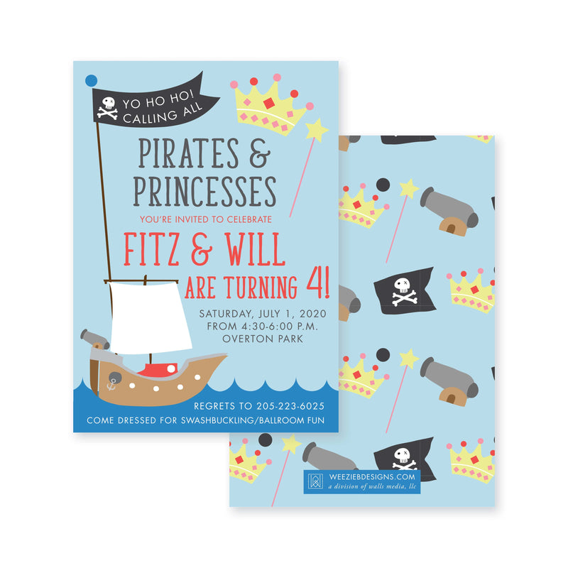 Weezie B. Designs | Pirate Princess Birthday Invitation