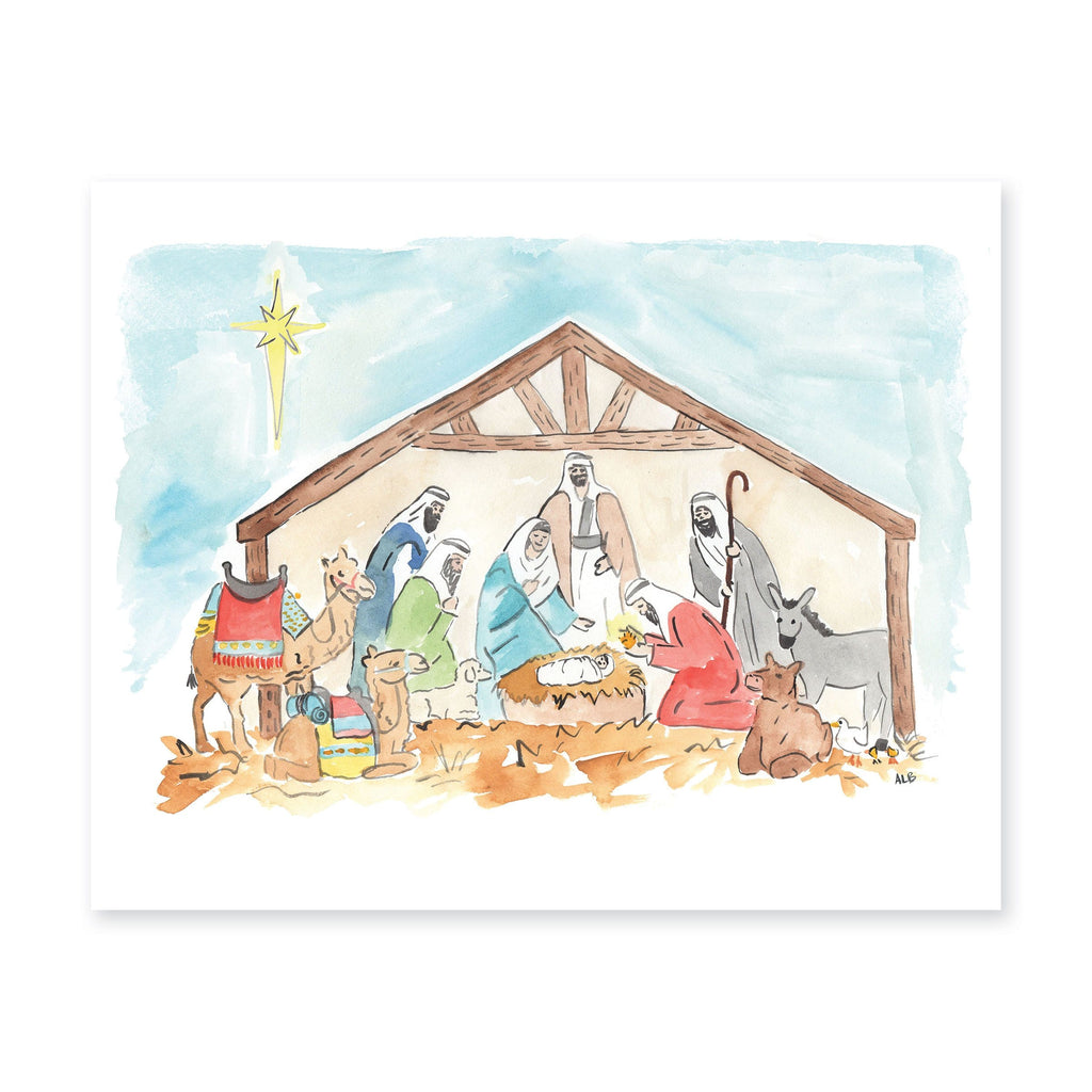 Watercolor Nativity