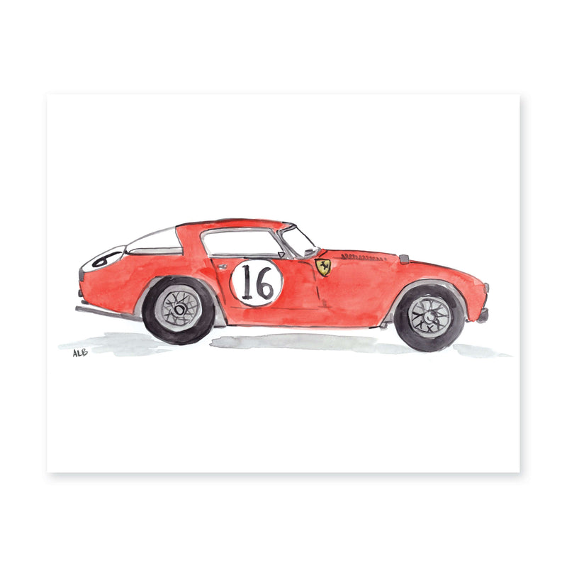Racing Car Watercolor